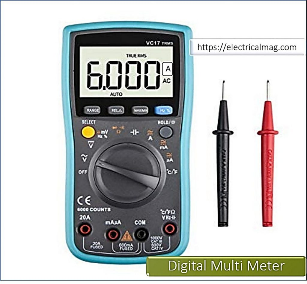 measuring current with Digital Multimeter And Ampere Meter