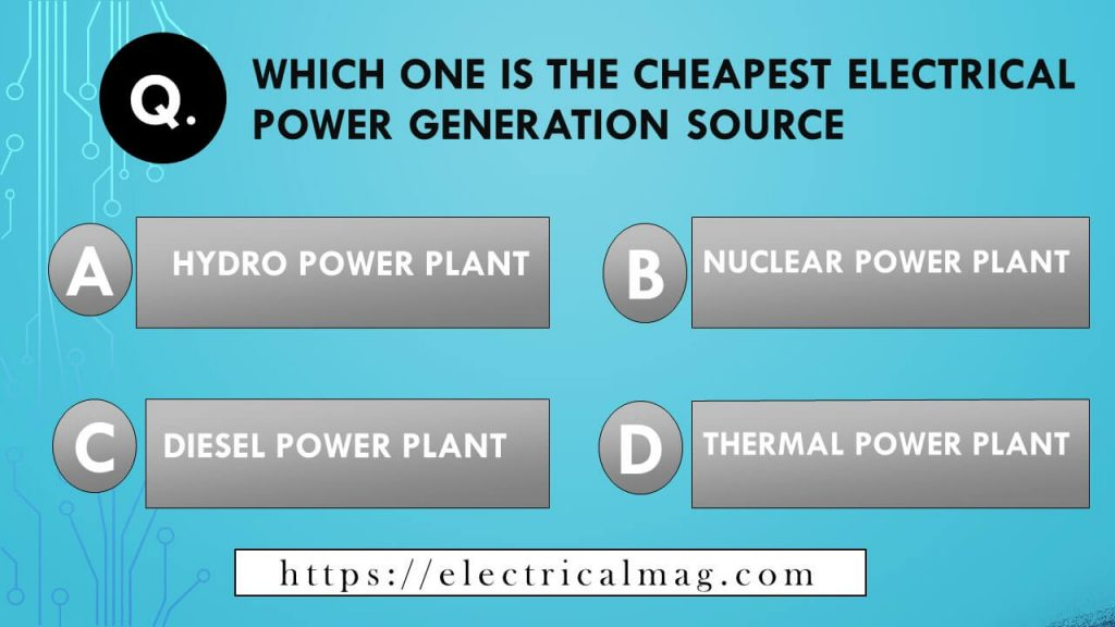 electrical power generation mcqs, hydro power is cheap source